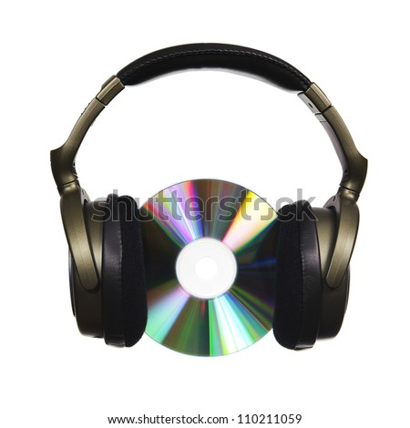 Music concept with headphones and CD disc isolated - stock photo