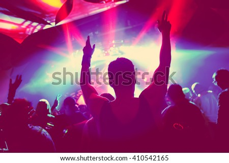 Music Concert, soft focus silhouette - stock photo