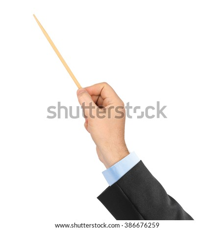 Music conductor hand isolated on white background - stock photo