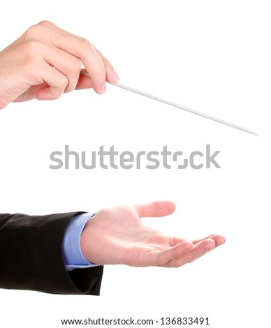 Music conductor hands with baton isolated on white - stock photo