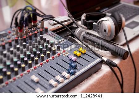 Music control panel device closeup - stock photo