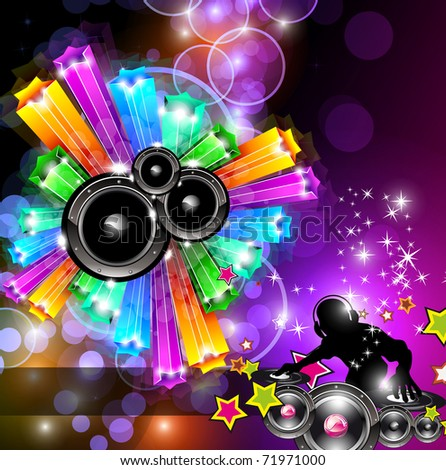 Music Disco Flyer for Dancing Event Posters with Rainbow Colours - stock photo