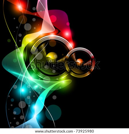 Music Disco Flyer With Raibow Colours and Stunning Lights - stock photo