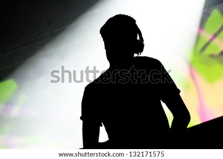 Music DJ at the party - stock photo