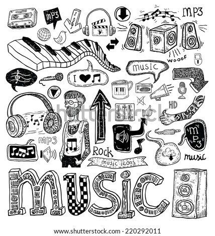 Music doodle collection, hand drawn illustration. - stock photo