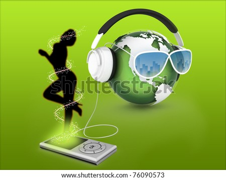 Music Earth With Headphones - stock photo