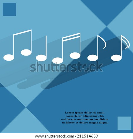 Music elements notes web icon on a flat geometric abstract background   illustration. - stock photo