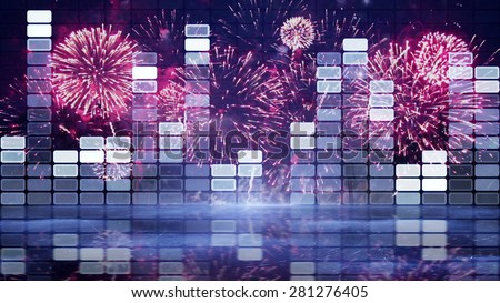 music equalizer and firework - stock photo