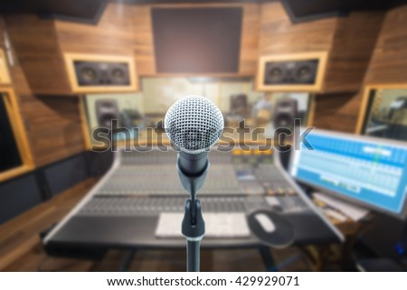 music equipment concept,microphone on recording room - stock photo
