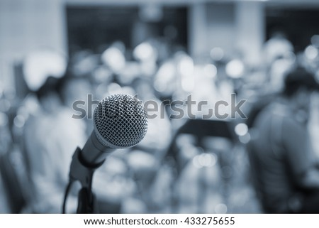music equipment,microphone and blur music band - stock photo