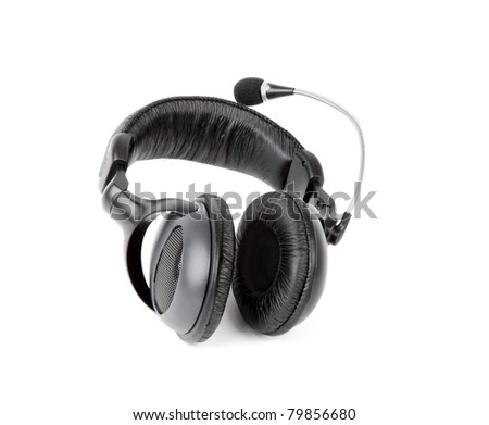 Music equipment The black headphone isolated on white background.