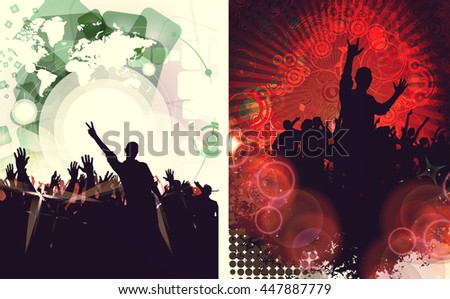 Music event. People with hands up having fun. Vintage style illustration