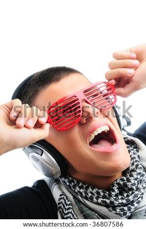 Music fan singing - stock photo