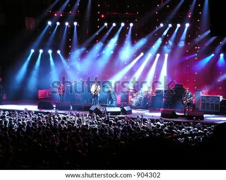 Music fans, Oasis concert - stock photo