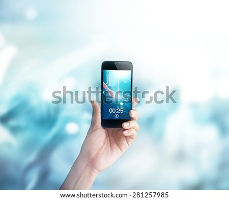 Music fans takes picture and video guitarist on stage in concert on smartphone, Pastel color tone and soft  - stock photo