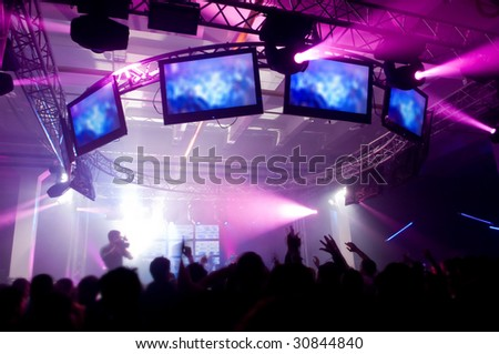 Music festival with laser show - stock photo