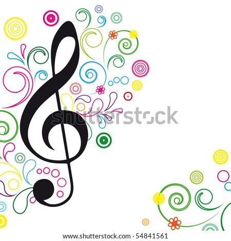 Music Floral Background. - stock photo