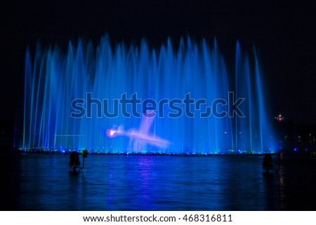 Music fountain at night