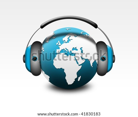 music globe - stock photo