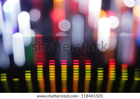 music graphic equalisers and audio analysis clip. shot from the display of a stereo hifi system - stock photo