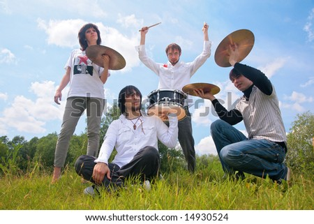 music group instrument outdoor - stock photo