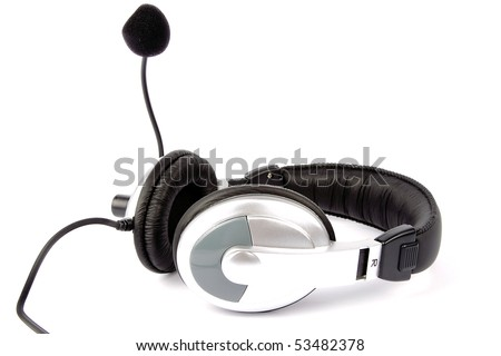 Music headset in white background