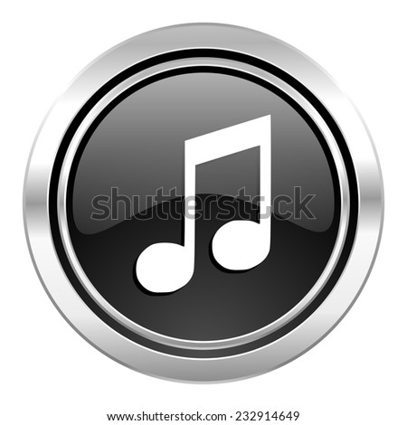 music icon, black chrome button, note sign  - stock photo