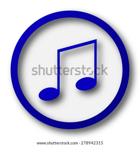 Music icon. Blue internet button on white background.