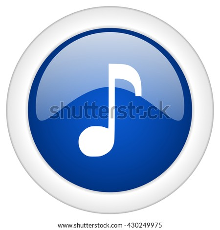 music icon, circle blue glossy internet button, web and mobile app illustration - stock photo