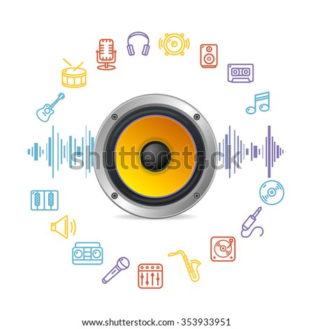 Music Icon Concept. Clear Sound. illustration - stock photo