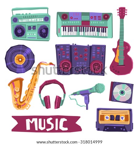 Music icon set with instruments and audio equipment isolated  illustration - stock photo