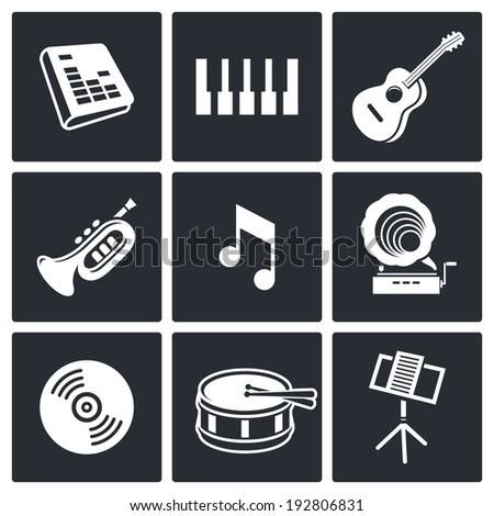 music icons set on white background - stock photo