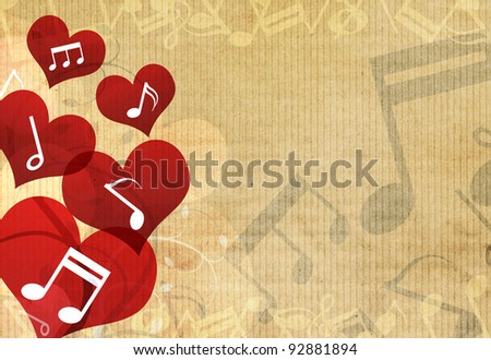 music in heart background design - stock photo