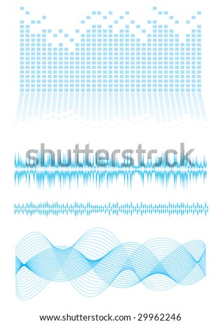 Music inspired background in blue with sound waves and equalizer graph - stock photo