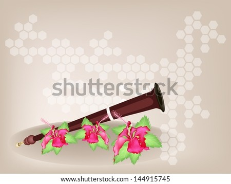 Music Instrument, An Illustration Brown Color of Wooden Serunai and Red Hibiscus Flowers or Bunga Raya on Brown Background with Copy Space for Text Decorated  - stock photo