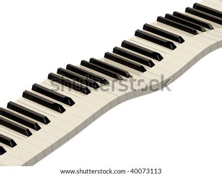 music instrument piano on white background - stock photo