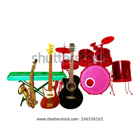 Music instruments isolated on white  background  - stock photo