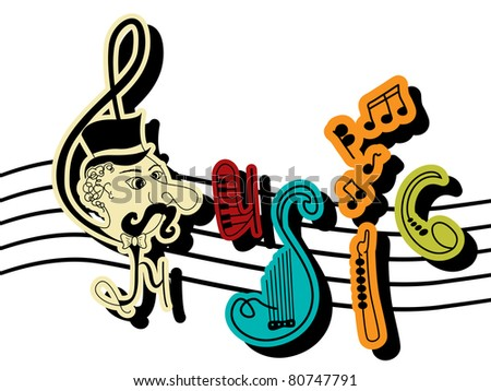 Music letters - stock photo