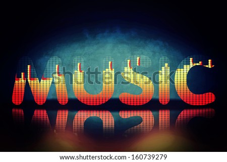 Music letters with equalizer effects - stock photo