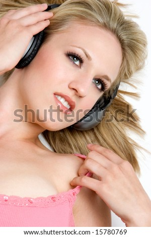 Music Listening Girl - stock photo