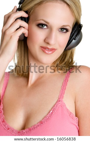 Music Listening Woman - stock photo
