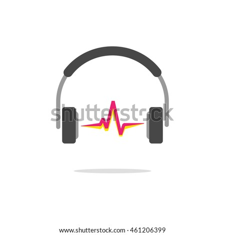 Music logo concept isolated on white background, flat headphones with red sound wave beat, broadcasting creative modern logotype image