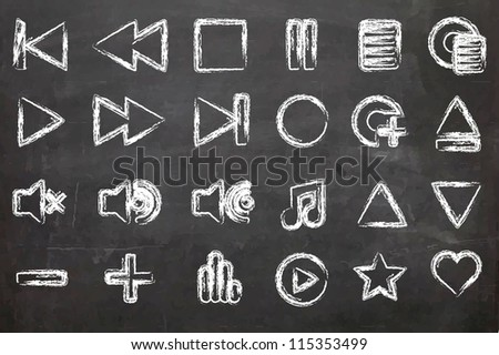 Music Media Icons drawn on a chalk board - stock photo