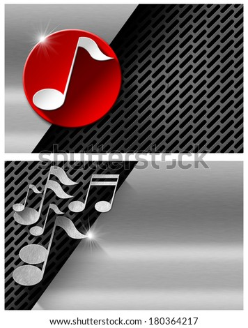 Music Metal And Red Business Card Background With Dark Grid Circle