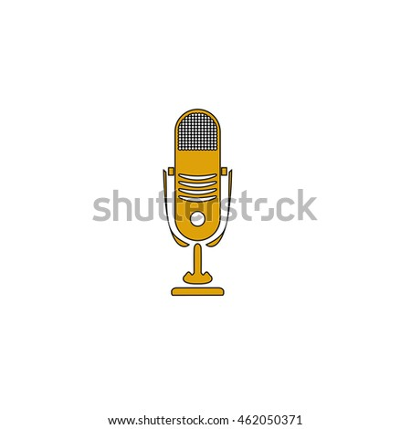 music microphone Flat yellow thin line pictogram on white background. Illustration icon