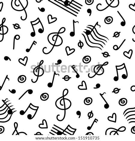 Music monochrome seamless pattern - raster version