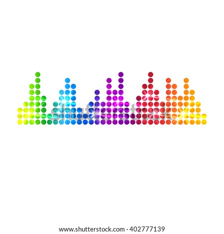 Music multicolored equalizer, Music background, techno sound - stock photo