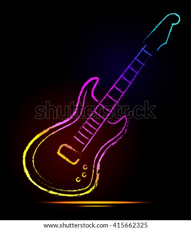 Music note and neon light guitar