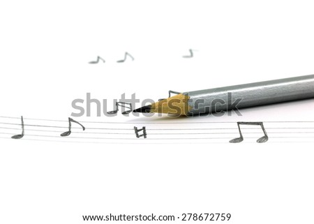 Music note and pencil isolated on white background, Hand Drawn Element - stock photo