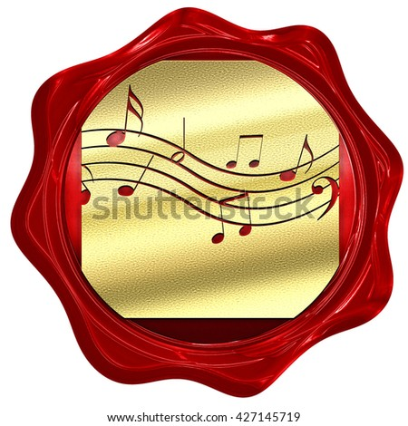 Music note background, 3D rendering, a red wax seal - stock photo